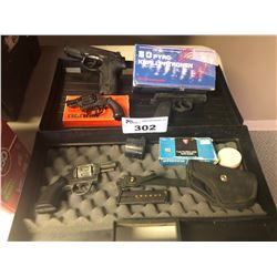 MISC. PELLET PISTOLS AND STARTER PISTOLS WITH CASE