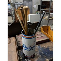 DODGERS TIN CAN FILLED WITH BASEBALL BATS