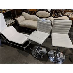 2 PADDED WHITE BARSTOOLS AND OTTOMAN