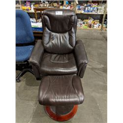 BROWN LAZY BOY LEATHER CHAIR WITH OTTOMAN - DAMAGED