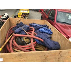 PALLET OF AIR HOSE, SLEDGEHAMMER AND OVERALLS