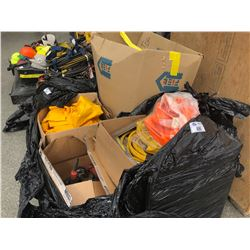 PALLET OF CONSTRUCTION MISC. INCLUDING AIR HOSE, MILWAUKEE GRINDERS, RAINSUITS, SAFETY STRAPS AND