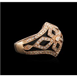 14KT Rose Gold 3.42 ctw Onyx and Diamond Ring