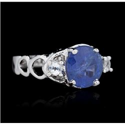SILVER 2.90 ctw Tanzanite and White Topaz Ring