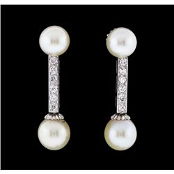0.30 ctw Diamond and Pearl Dangle Earrings - 14KT White Gold