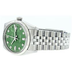 Mens Rolex Stainless Steel Green Diamond And White Gold Beadset Datejust Wristwa