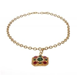 Chanel Gold and Multicolor Glass Stones Gripoix Long Necklace