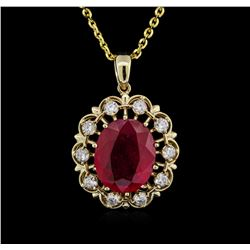 14KT Yellow Gold 11.11 ctw Ruby and Diamond Pendant With Chain
