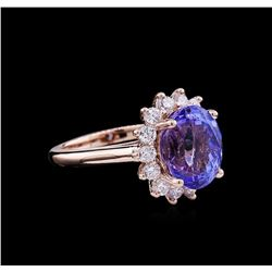 5.75 ctw Tanzanite and Diamond Ring - 14KT Rose Gold