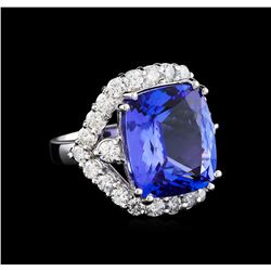 12.30 ctw Tanzanite and Diamond Ring - 14KT White Gold