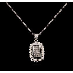 0.34 ctw Diamond Pendant With Chain - 18KT White Gold