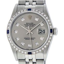 Mens Rolex Stainless Steel Slate Grey Diamond And Sapphire Datejust Wristwatch