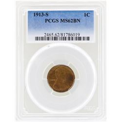 1913-S Lincoln Wheat Penny Coin PCGS MS62BN