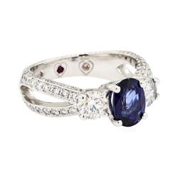 14KT White Gold 1.01 ctw Sapphire and Diamond Ring