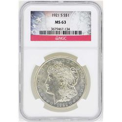 1921-S $1 Morgan Silver Dollar Coin NGC MS63