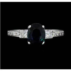 18KT White Gold 1.50 ct. Natural Blue Sapphire and Diamond Ring