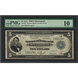 1918 $5 Federal Reserve Bank Note Minneapolis Fr.799 PMG Very Good 10