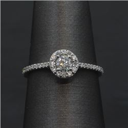 14KT White Gold 0.43 ctw Round Cut Diamond Solitaire Engagement Ring