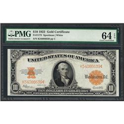 1922 $10 Gold Certificate Note Fr.1173 PMG Choice Uncirculated 64EPQ