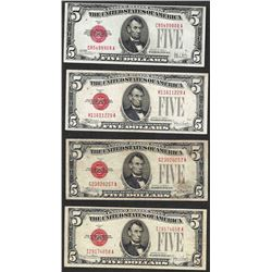 Lot of (4) 1928 $5 Legal Tender Notes
