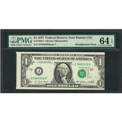 1977 $1 Federal Reserve Note ERROR Misalignment PMG Choice Uncirculated 64EPQ