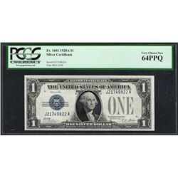 1928A $1 Funnyback Silver Certificate Note Fr.1601 PCGS Very Choice New 64PPQ
