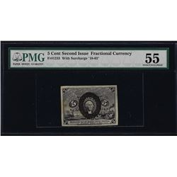 1863 Second Issue 5 Cent Fractional Currency Note Fr.1233 PMG About Uncirculated