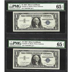 (2) Consecutive 1957 $1 Silver Certificate STAR Notes PMG Gem Uncirculated 65EPQ