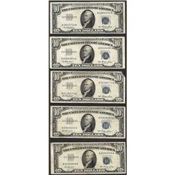 Lot of (5) 1953 $10 Silver Certificate Notes