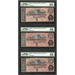 (3) Consec. 1864 $5 Confederate States of America Notes PMG Choice Uncirculated
