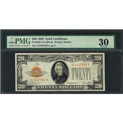 1928 $20 Gold Certificate Note Fr.2402 PMG Very Fine 30