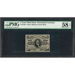 1863 Third Issue 5 Cent Fractional Currency Note PMG Choice About Uncirculated 5