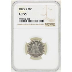 1875-S Seated Liberty Twenty Cent Coin NGC AU55