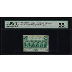 1862 First Issue 50 Cent Fractional Currency Note PMG About Uncirculated 55