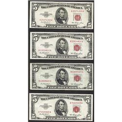 Lot of (4) 1953 $5 Legal Tender Notes