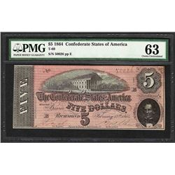 1864 $5 Confederate States of America Note T-69 PMG Choice Uncirculated 63