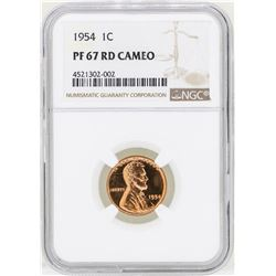1954 Lincoln Wheat Penny Proof Coin NGC PF67RD Cameo