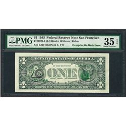 1995 $1 Federal Reserve Note ERROR Overprint On Back PMG Choice Very Fine 35EPQ