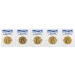 Lot of (5) 1898-S $20 Liberty Head Double Eagle Gold Coins PCGS MS61