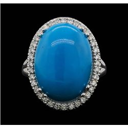 14KT White Gold 9.70 ctw Turquoise and Diamond Ring