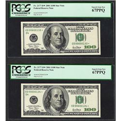 Lot of (2) Consecutive 2001 $100 Federal Reserve STAR Note PCGS Superb Gem New 6