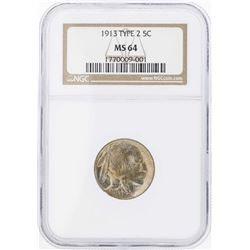 1913 Type 2 Buffalo Nickel Coin NGC MS64