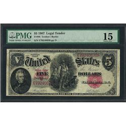 1907 $5 Woodchopper Legal Tender Note Fr.88 PMG Choice Fine 15