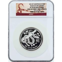 2013P Australia $8 Year of the Snake Silver Proof Coin NGC PF70 Ultra Cameo Firs