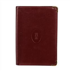 Must De Cartier Bordeaux Leather Bifold Passport Wallet