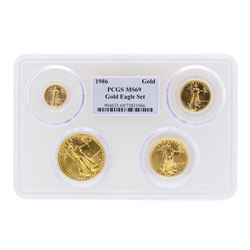 1986 American Gold Eagle (4) Coin Set PCGS MS69