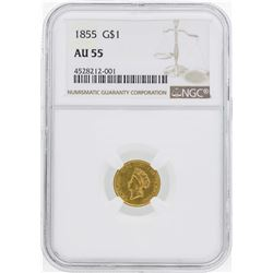 1855 $1 Indian Princess Head Gold Dollar Coin Type 2 NGC AU55