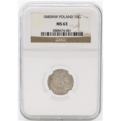 1840MW Poland 10 Groszy Coin NGC MS63