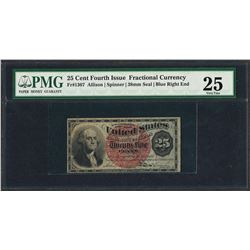 March 3, 1863 Fourth Issue 25 Cent Fractional Currency Note PMG Very Fine 25