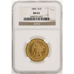 1892 $10 Liberty Head Gold Eagle Coin NGC MS62